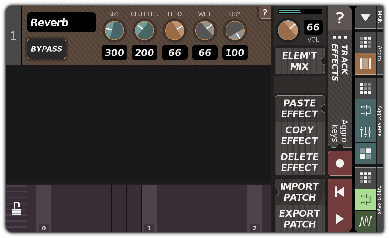 TRACK EFFECTS dialog with reverb
