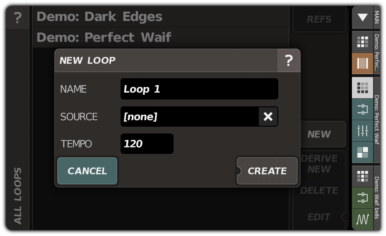 Creating a loop with the NEW LOOP dialog