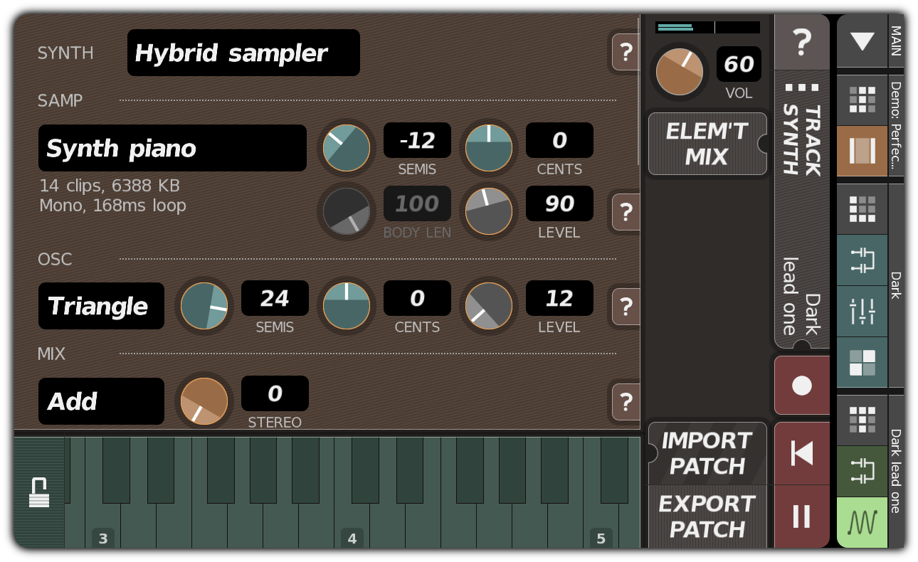 TRACK SYNTH dialog with hybrid sampler