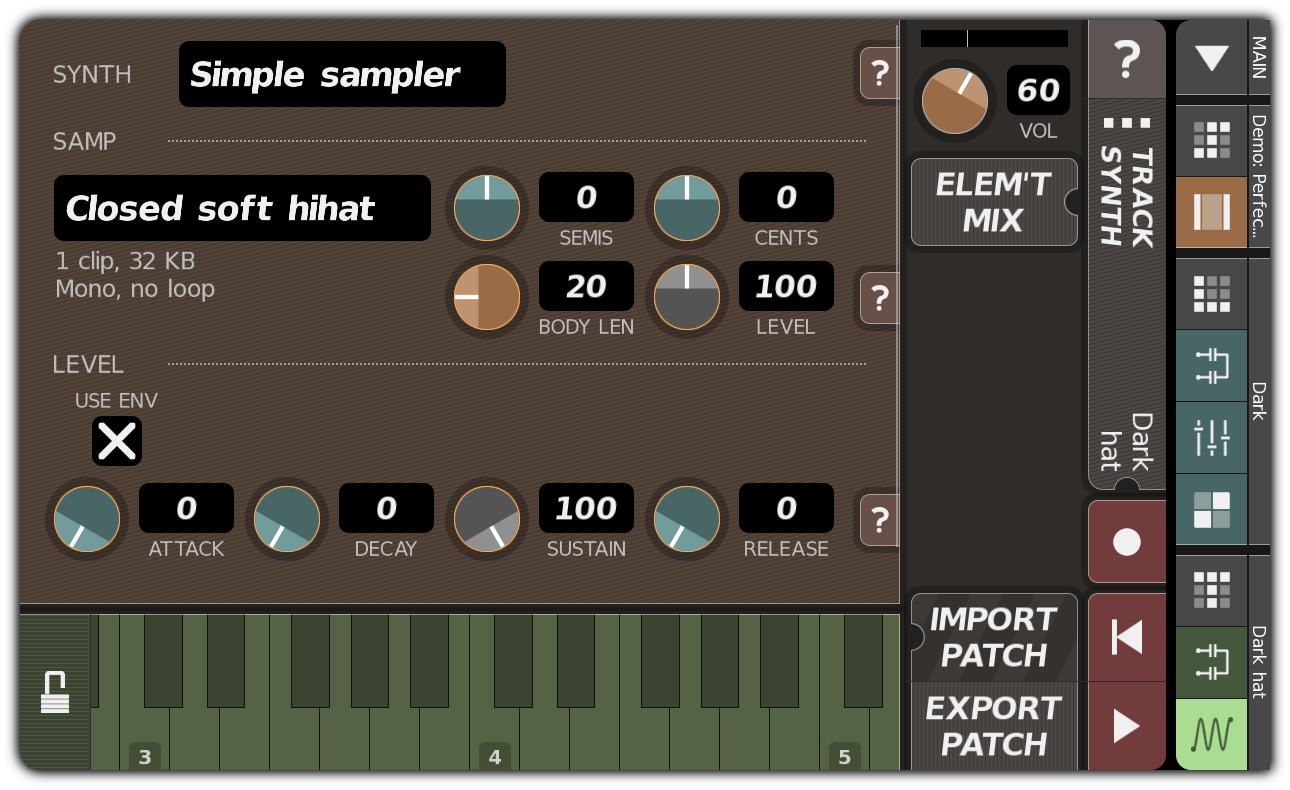 TRACK SYNTH dialog showing 'Dark hat'