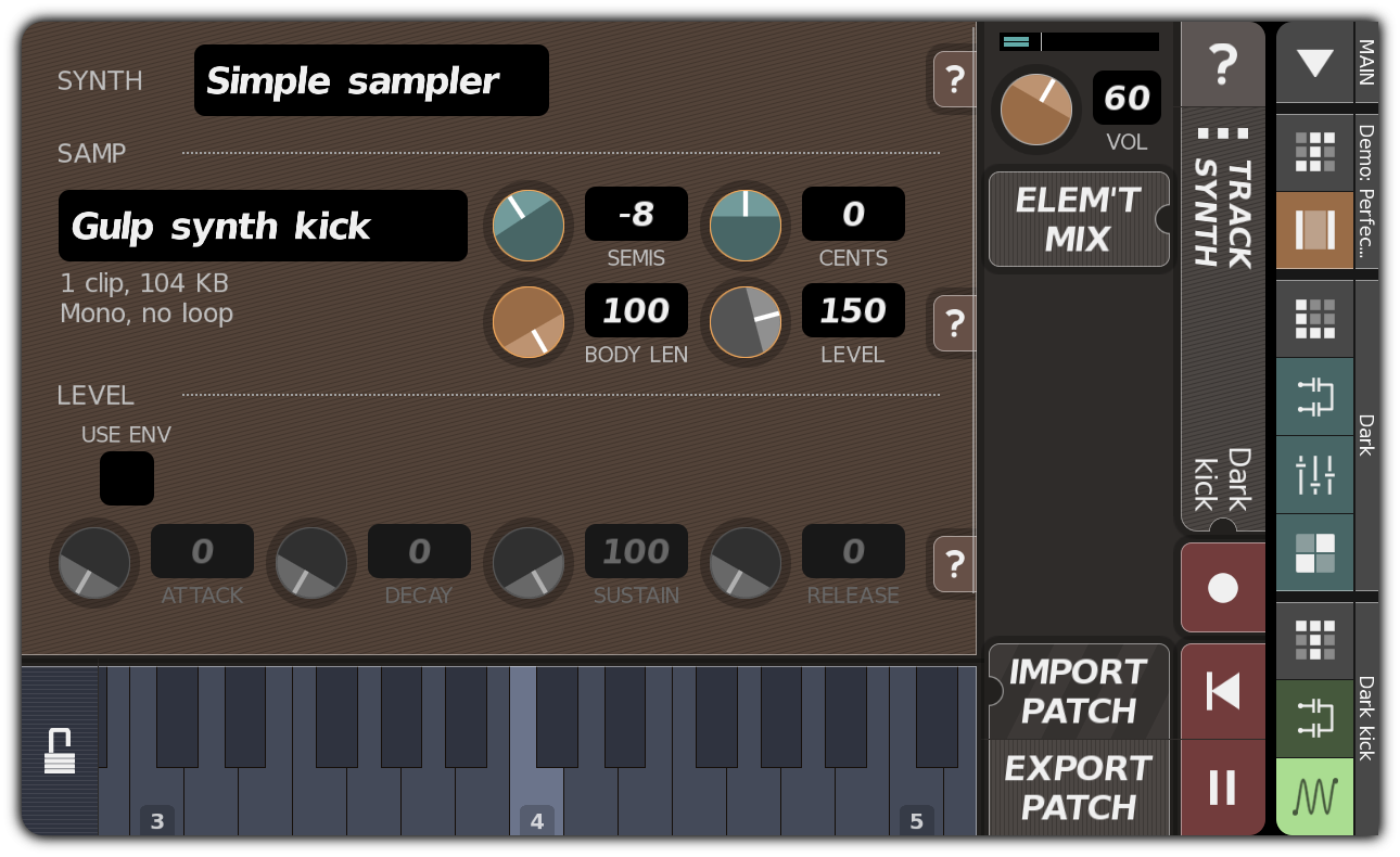Modified Dark kick synthesis parameters