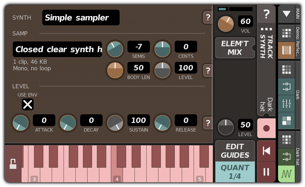 TRACK SYNTH dialog with recording enabled