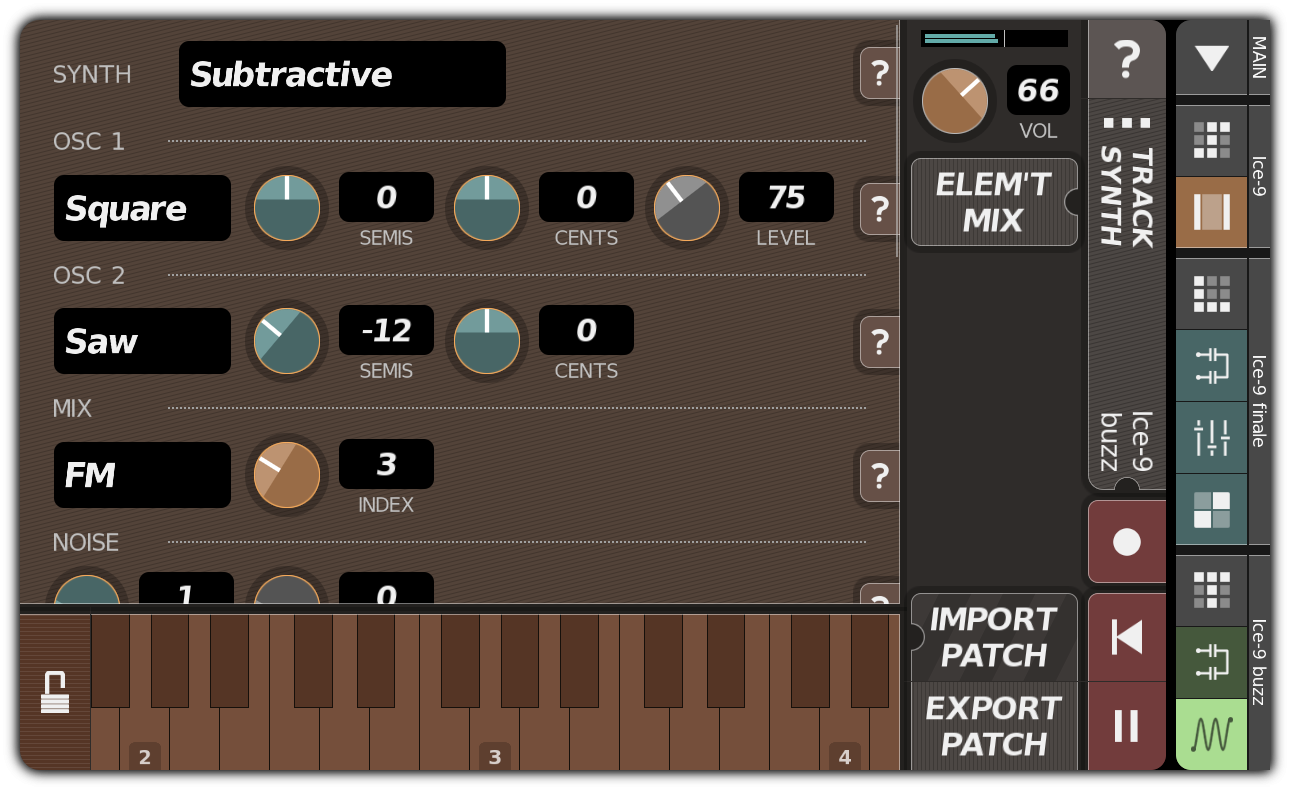 TRACK SYNTH dialog with subtractive synthesizer